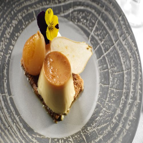 Dessert---Jameson-Creme-Caramel---Pear-foam-Poached-Pear-Baked-White-Chocolate-Toasted-Brioche-Crisp