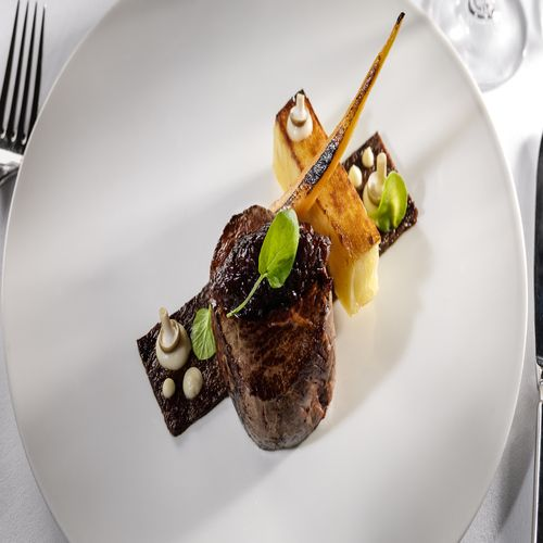 Pan-Seared-Fillet-of-Beef---Shallot-Marmalade-Beef-Cheek-Celeriac-Puree-Potato-Mille-Feuille